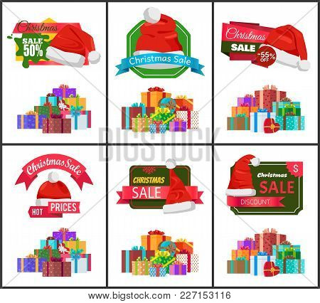 Festive Christmas Sale Announcement Posters Set With Heaps Of Gifts Wrapped In Bright Paper With Bow
