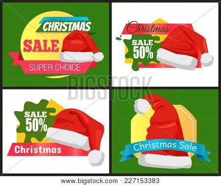 Four Colorful Christmas Sale Advertising Cards Vector Illustration With Festive Red Hats, Cute Ribbo