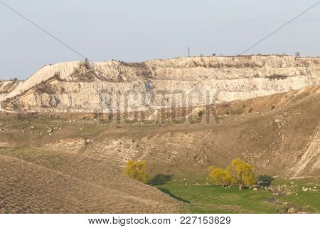 Landscape With Beautiful View Of Limestone Quarry. Can Be Used As Wallpaper For A Monitor.