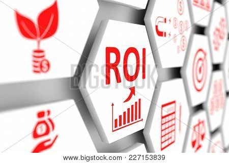 Roi Concept Cell Blurred Background 3d Illustration