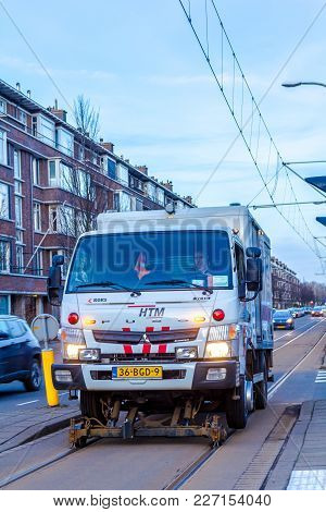 Loosduinen, The Netherlands - 16 February 2018: Tram Track Maintenance Vehicle Doing Rail Maintenanc