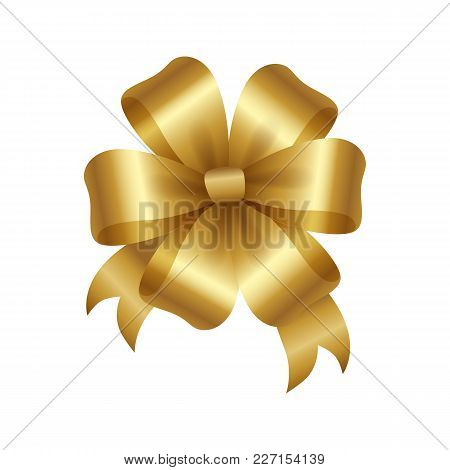 Golden Bow Knot With Five Loops Vector Illustration Decorative Element Isolated On White Background.