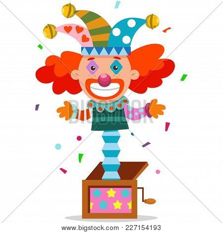 April Fools Day Jack Clown In Box. Vector Cartoon Joker.