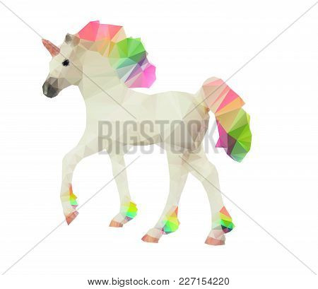 Unicorn Low Poly Polygonal Vector Illustration With Multicolor Rainbow Mane And Tail Isolated On A W