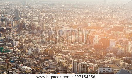 Aerial View Crowded Tokyo Residence Area, Japan Cityscape Downtown