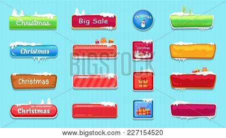 Set Of Winter Theme Glossy Web Push Button Covered By Snow Vector Illustration Online Shopping Signs