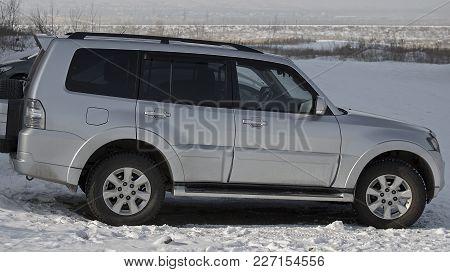 Kazakhstan, Ust-Kamenogorsk - 17 February, 2018. Car Mitsubishi Pajero IV. Japanese car. Silver car. Suv.