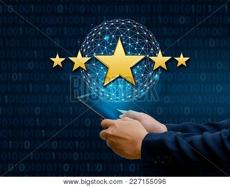 Businessmen Pointing Five Star Stars To Boost Corporate Ratings Phone Holder Earth Global Network