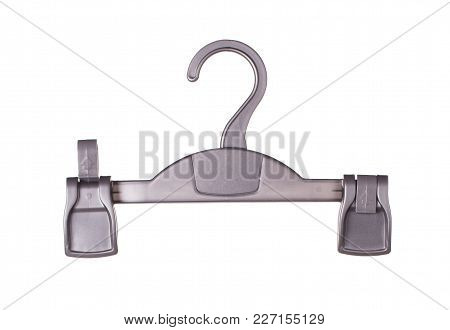 Hanger Pants With Clips. Isolated On The White Background.