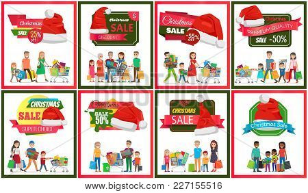 Set Of Christmas Sale Premium Quality Banners, Vector Illustration With Ad Text, Red Santa S Hats, M