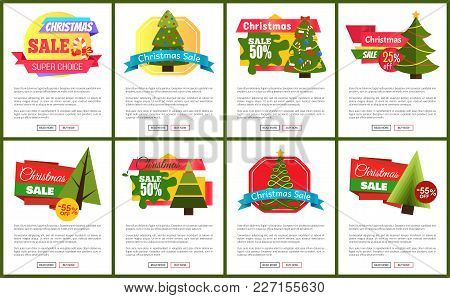 Set Of Christmas Sale Hot Price 50 Off Posters Vector Illustration With Cute New Year Trees, Festive