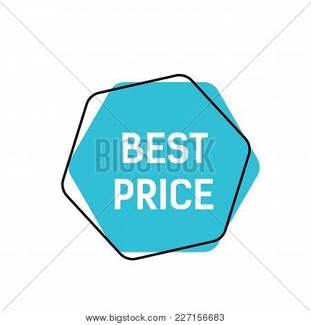 Best Price Lettering On Blue Hexagon. Inscription Can Be Used For Leaflets, Posters, Banners.