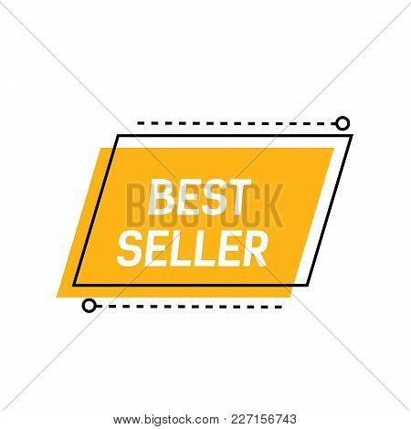 Best Seller Lettering On Yellow Background With Dotted Lines. Inscription Can Be Used For Leaflets,