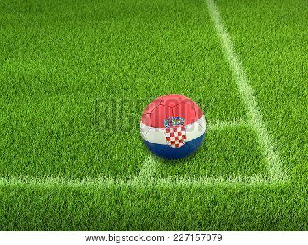 3d Illustration. Soccer Football With Croatian Flag