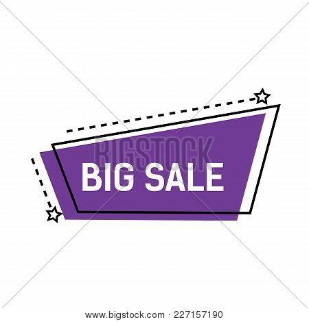 Big Sale Lettering On Violet Abstract Shape With Dotted Lines And Stars. Inscription Can Be Used For