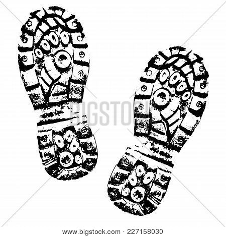 Human Footprints Shoe Silhouette On White Background. Boot Imprint