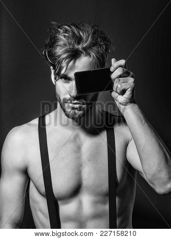 Handsome Man Confident Fashion Sexy Young Blond Bearded Male Model With Suspenders On Topless Sexi N