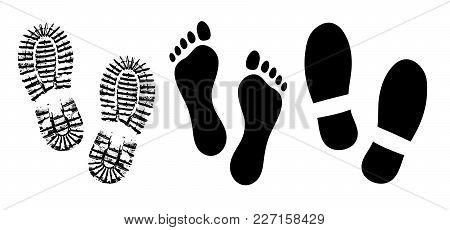 Shoe Sole, Footprints Human Shoes Silhouette Vector, Foot Barefoot Feet