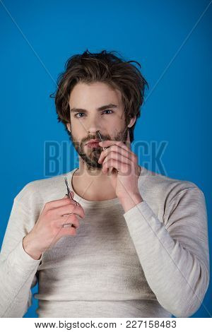 Single With Uncombed Hair. Barber And Hairdresser, Male Fashion. Man With Disheveled Hair Grooming I