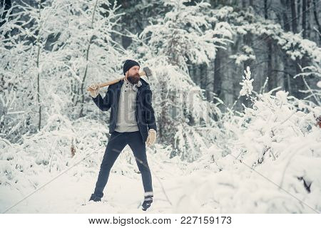 Temperature, Freezing, Cold Snap, Snowfall. Man Lumberjack With Ax. Camping, Traveling And Winter Re