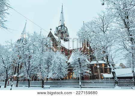 Beautiful Illuminated Early Morning Winter Church Of Sts. Olha And Elizabeth In Lviv, Ukraine. Built