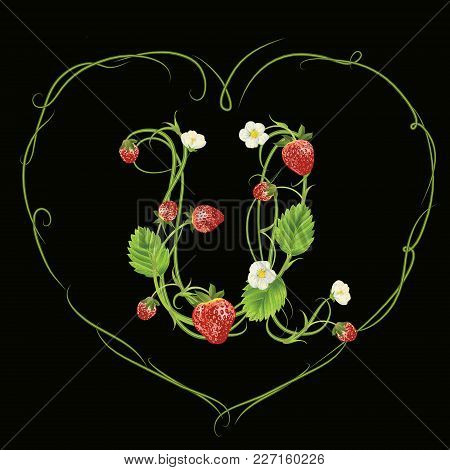 Letter U In Strawberry Style With Green Heart. Vector Realistic Illustration. Design For Grocery, Fa