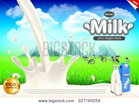 Milk Ads. Milky Splashes And Green Field Background. 3d Illustration And Packaging