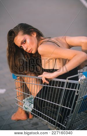 Purchase, Buyer Girl, Sale, Black Friday. Purchase, Procurement Concept.