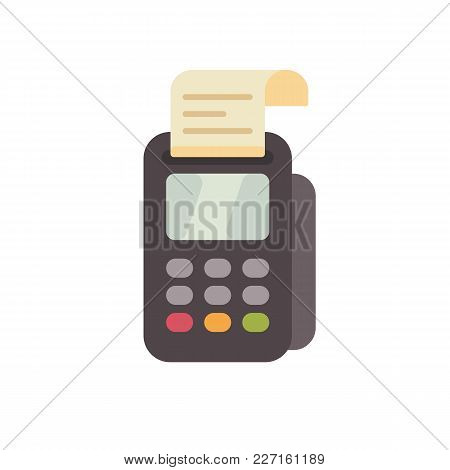 Payment Terminal Flat Icon. Credit Card Reader With A Receipt Flat Illustration