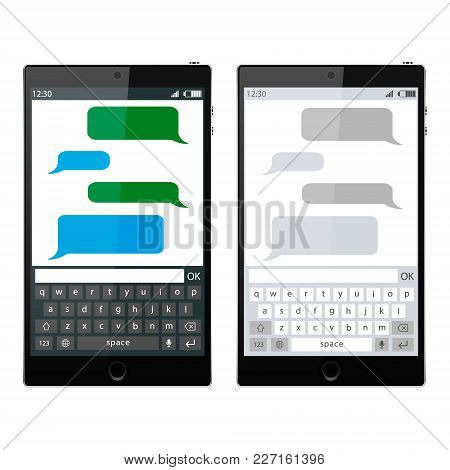 Smartphone Chatting Sms App Template Bubbles, Black And White Theme. Place Your Own Text To The Mess