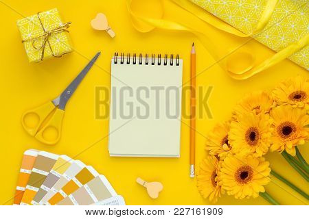 Presents For Any Holiday Background. Open Notebook For Shopping List, Copy Space , Top View. Prepari