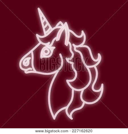 The Head Of The Unicorn. Vector Image With The Effect Of Neon Light. Element Of Design, Interface