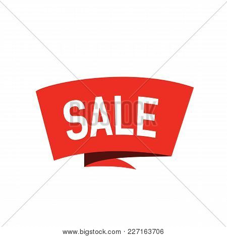 Sale Lettering, Red Origami Banner. Inscription Can Be Used For Leaflets, Posters, Tags.