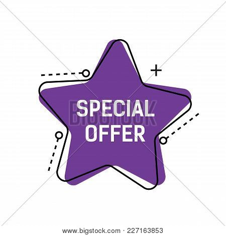 Special Offer Lettering On Violet Star With Dotted Lines And Plus Sign. Inscription Can Be Used For
