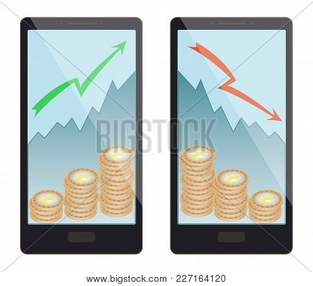 Buying And Selling A Lightcoin In A Smartphone On A White Background,  Buying Coins Moves The Price