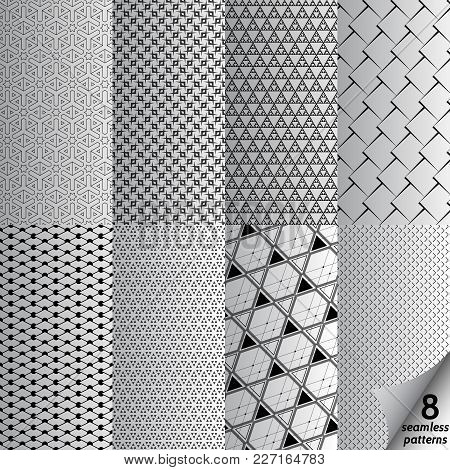 Vector Set Of Eight Monochrome Seamless Patterns. Modern Stylish Backdrop. Repeating Geometric Tiles