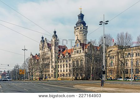 Leipzig, Germany - February 8, 2018: New Town Hall, The Seat Of The Leipzig City Administration Sinc