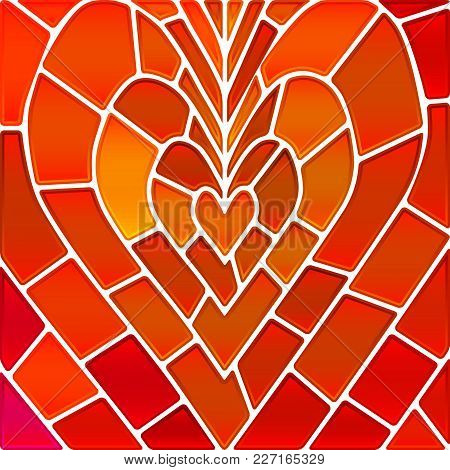 Abstract Vector Stained-glass Mosaic Background - Orange Heart