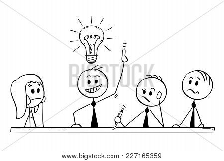 Cartoon Stick Man Drawing Conceptual Illustration Of Business Team Meeting And Brainstorming. Concep