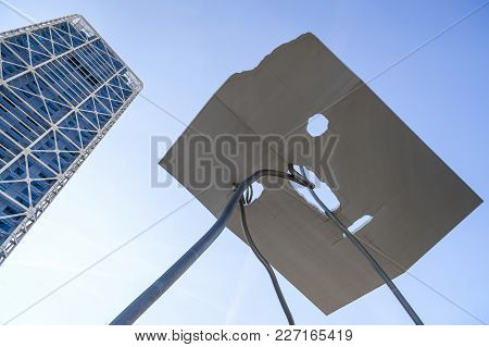 Barcelona,spain-october 3,2012: Monumental Sculpture, David Y Goliat, By Antoni Llena, And Tower Hot