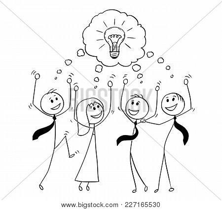 Cartoon Stick Man Drawing Conceptual Illustration Of Business Team Celebrating Successful Meeting An