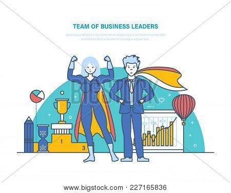 Team Of Business Leaders. Cartoon Characters Of Superheros. Successful Happy Businessman. Success In