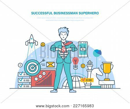 Cartoon Character Superhero Businessman. Successful Businessman. Success In Work, Leadership, Career
