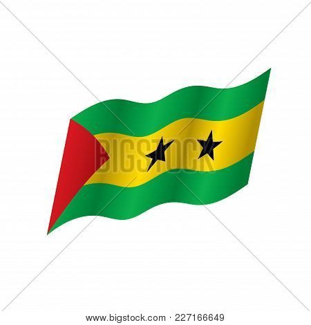 Sao Tome And Principe Flag, Vector Illustration On A White Background