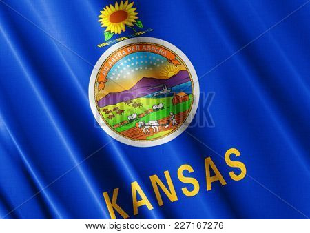 Us State Kansas Textured Proud Country Waving Flag Close