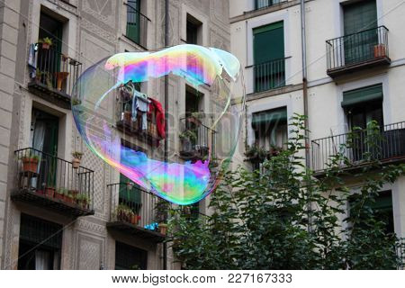 Colorful Flying Bubble. Symbolism Of Bubbles Is Fleeting, Fragility, Hopes, Dreams, Childhood Innoce