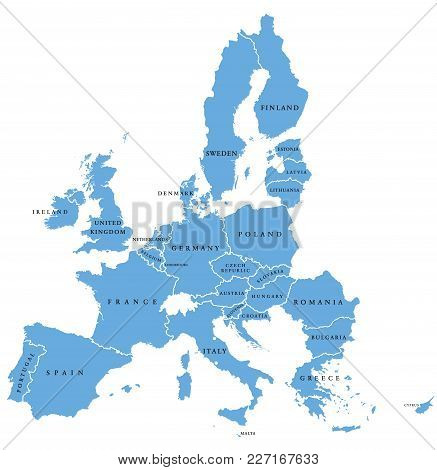 European Union, Isolated On White Background, With All Single Countries And English Labeling. All 28