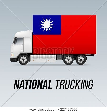Symbol Of National Delivery Truck With Flag Of Taiwan. National Trucking Icon And Flag Design