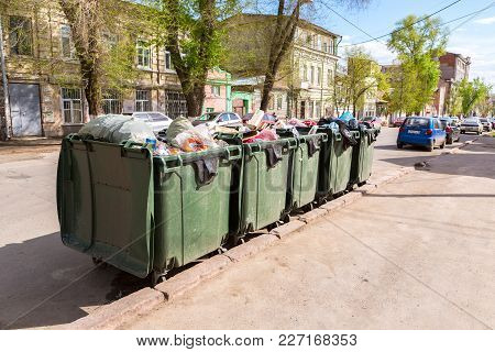 Samara, Russia - May 6, 2017: Opened Green Plastic Recycling Containers With Garbage And Different R