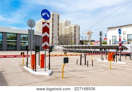 Samara, Russia - May 6, 2017: Automatic Rising Arm Barrier For Entry Or Stop Traffic. Boom Barrier
